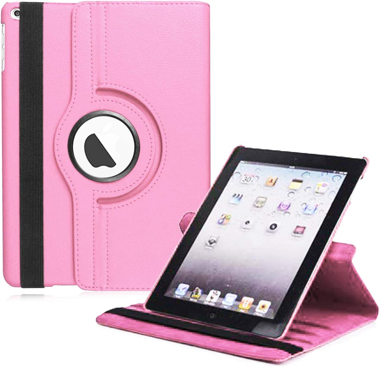 "New iPad 2017 9.7"" / iPad Air 2 Leather Case,360 Degree Rotating Stand Smart Cover with Auto Sleep Wake for Apple iPad Air or New iPad 9.7 Inch 2017 Tablet (Pink)"