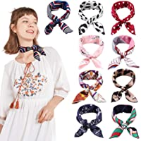 9PCS Square Scarf Fashion Soft Large Satin Hair Scarf Wrap Headscarf Neck Scarves for Women