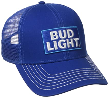 bud light baseball hat lime cap men washed twill mesh back trucker blue one size