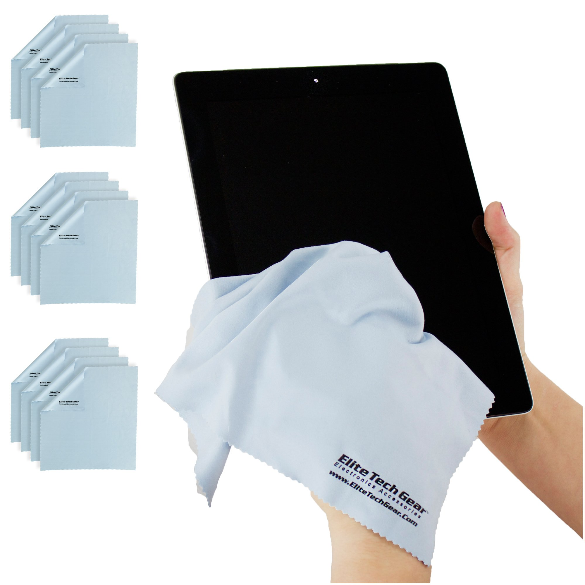 "(12-Pack ''OVERSIZED'') The Most Amazing Microfiber Cleaning Cloths - Perfect For Cleaning All Electronic Device Screens, Eyeglasses, Tablets & Delicate Surfaces (12 Oversized 12''x12"") by Elite Tech Gear"
