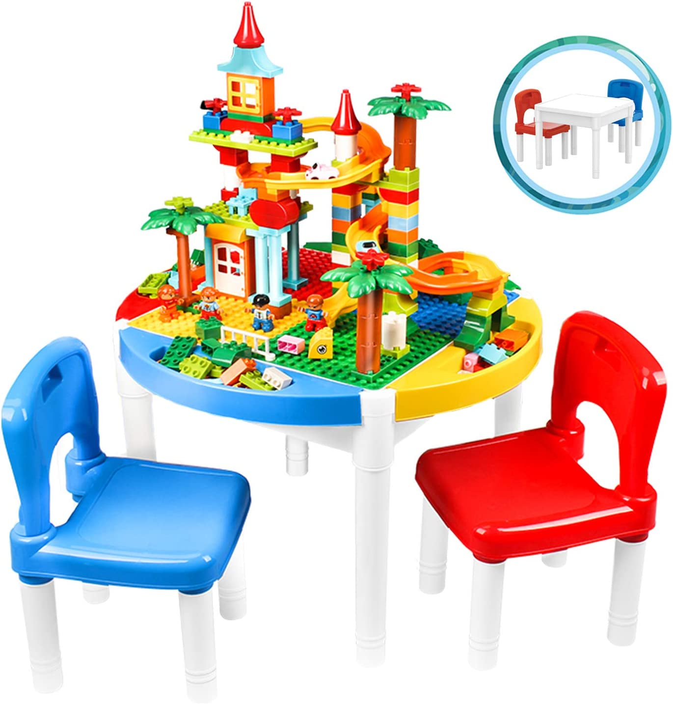 Little Brown Box 6 in 1 Kids Multi Activity Table and Chairs Set W/Storage. Sand, Water, Blocks Table, Play & Study Desk - for Toddler Baby Childern - 200pc Building Bricks Compatible w/Major Brands