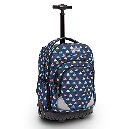 d70aca6b0468 Image Unavailable. Image not available for. Color  HollyHOME 18 inches  Multi-compartment Waterproof Wheeled Rolling Backpack for Girls Boys School  Students ...