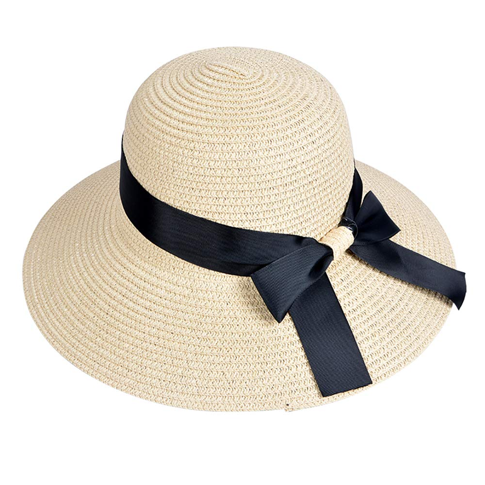 EINSKEY Ladies Sun Hat Panama Straw Hat Packable Wide Brim Summer Beach Hat Fedora Trilby Hat for Women UPF 50