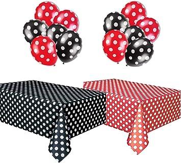 Amazon.com: Mantel de plástico rojo & blanco y negro y ...