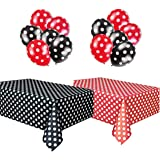 Polka Dot Plastic Tablecloth Red & White and Black & White and Two Packages of Polkadot Balloons