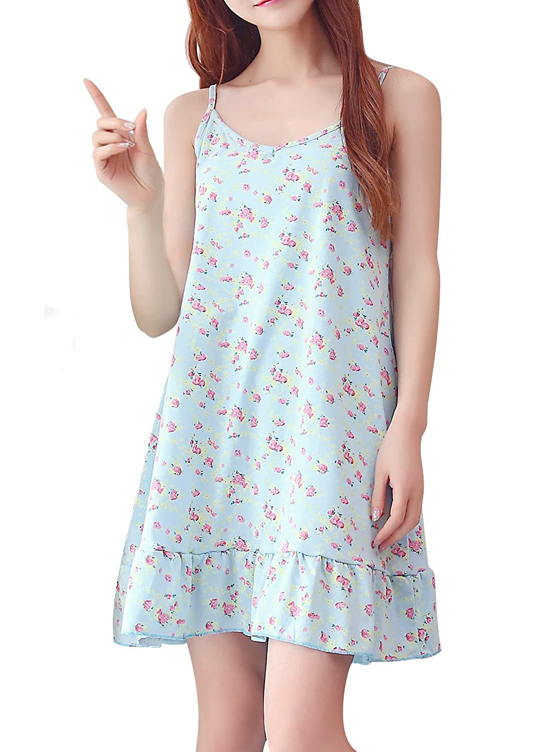 BOOPH Girls Nightgown, Big Girl Flower Sleeveless Sleepwear Spaghetti Strap Nightwear Dress for Teenage Girls 9-16 Year Old