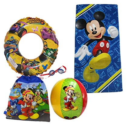 6f28ae42e000 Image Unavailable. Image not available for. Color  Disney Mickey Mouse  Beach Towel Sling Bag Beach Ball Goggles Swim Ring Swimming Pool Bundle