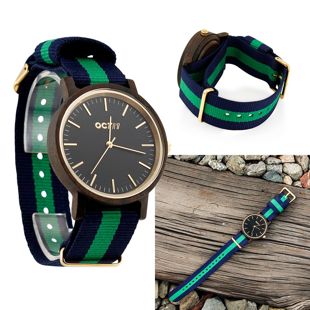 Unisex Wood Wrist Watch, Wooden Quartz Analog Wristwatch, Bamboo Casual Business Watch with Nylon Multi-Color Striped Band - Black Wood by Oct17 (Image #1)
