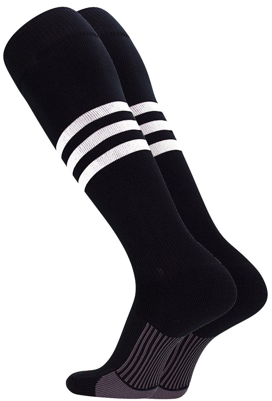TCK Performance Baseball/Softball Socks (Black/White, X-Large)
