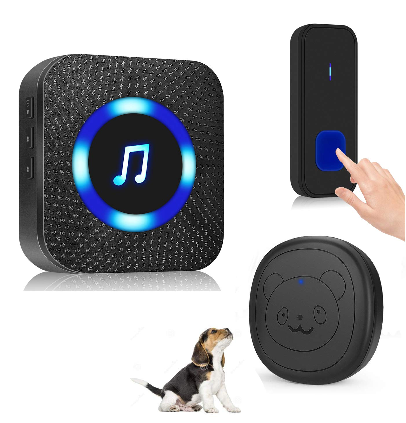 Dog Door Bell,Wireless Dog Doorbell for Potty Training Smart Pet Door Bell with Warterproof Touch Button 1 Receiver and 2 Buttons