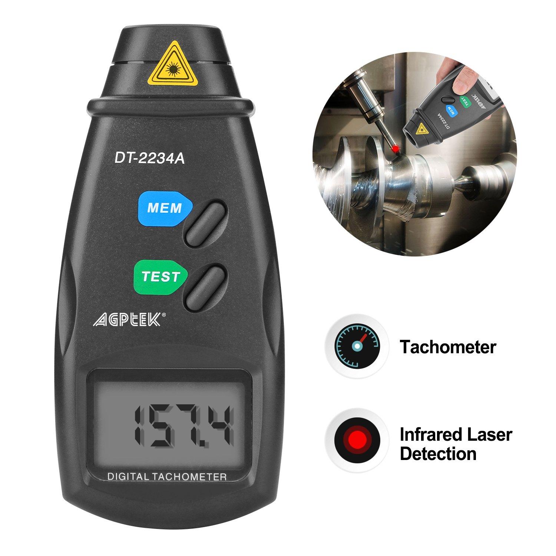 AGPTEK Digital Tachometer RPM Meter, Non Contact L (20713A) by AGPTEK