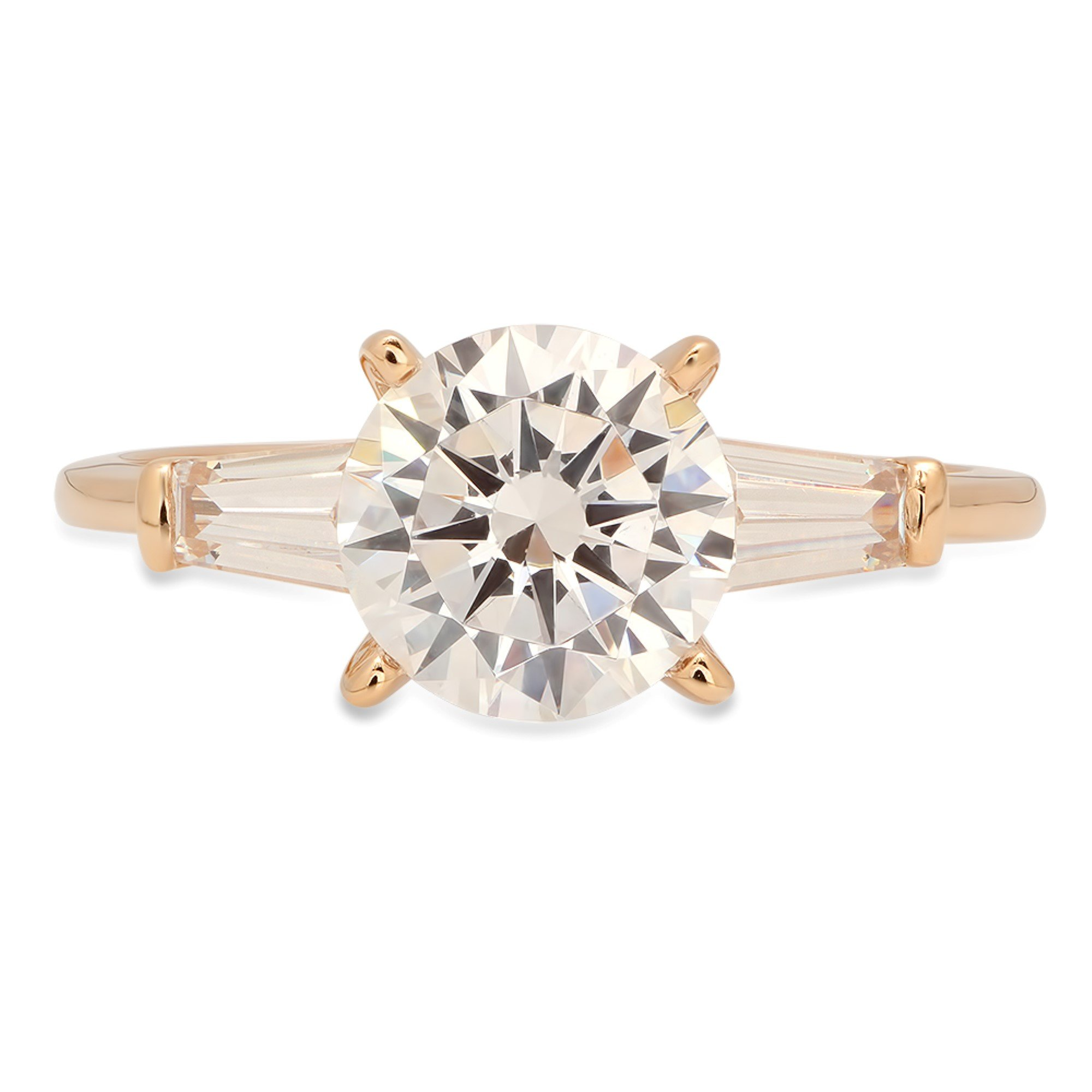 Brilliant Round Baguette Cut Solitaire 3 Stone Statement Engagement Wedding Anniversary Promise Bridal Petite Ring Solid 14K Yellow Gold for Women 1.8ct, 10