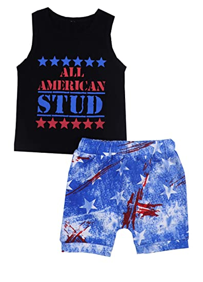 02fab83d21814 Von kilizo 4th of July Baby Boy Outfit Sleeveless American Stud Flag  Romper+ Cute Star Pants