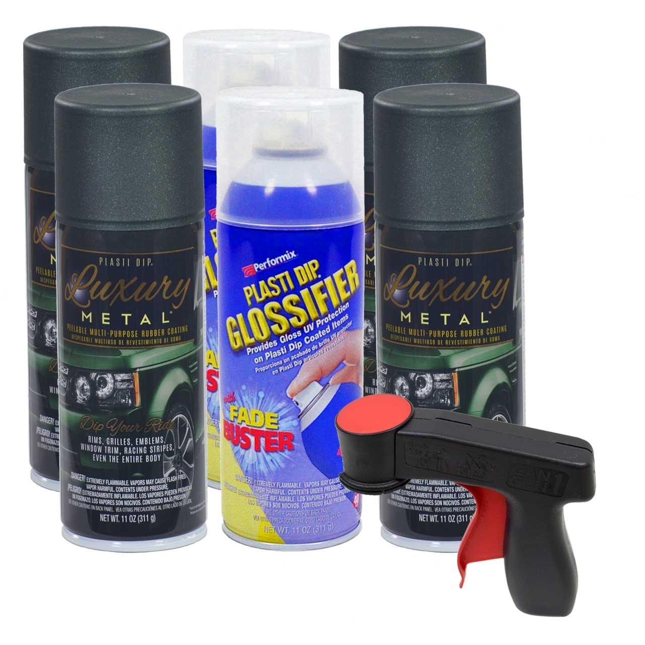 Plasti Dip Rim Kit: 4 Aerosol Cans Luxury Aintree Green Metallic, 2 Aerosol Cans Glossifier, 1 Cangun
