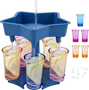 5 Shot Glass Dispenser Drink Dispenser and Holder with Stoppers Drinking Games Wine Dispenser with Glasses for Filling Liquids Cocktail Carrier Liquor Gifts Bar Shot Buddy Dispenser for Parties