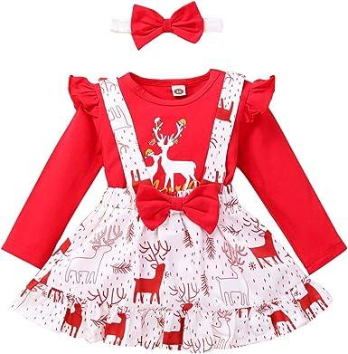 Haokaini 2Pcs Trajes de Navidad para Niña Pequeña Camisa con ...