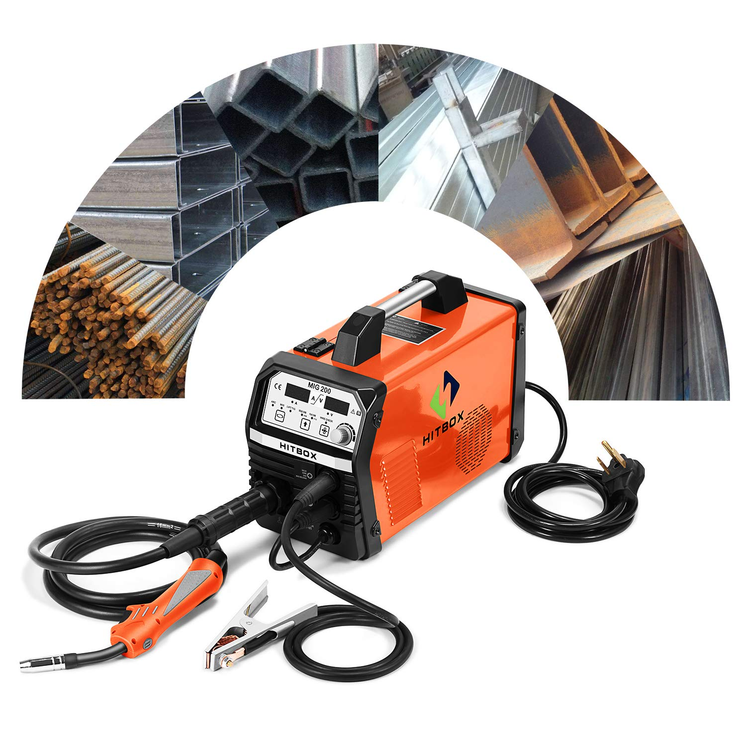 HITBOX MIG Welder 200Amp Inverter MIG ARC Lift TIG Gas Gasless 4 in 1 Multifunction MIG Welding Mahcine 220V Flux Cored Wire Solid Core Wire Welding Equipment SHENZHEN UNITWELD WELDING AND MOTOR MIG120
