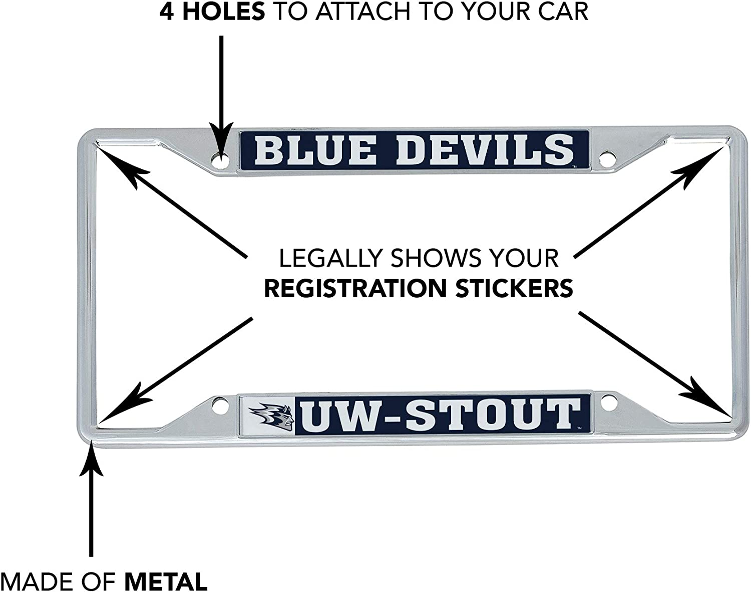 University of Wisconsin Stout Blue Devils NCAA Metal License Plate Frame for Front Back of Car Officially Licensed Mascot