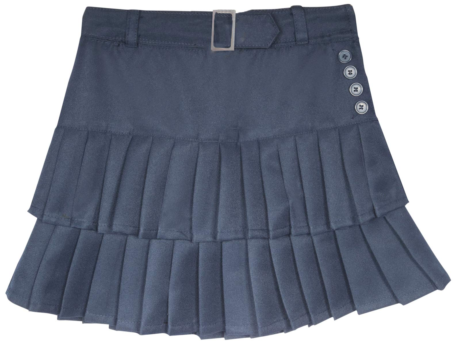 Beverly Hills Polo Club Girls School Uniform Belted Low Pleat Scooter, Navy, Size 14'