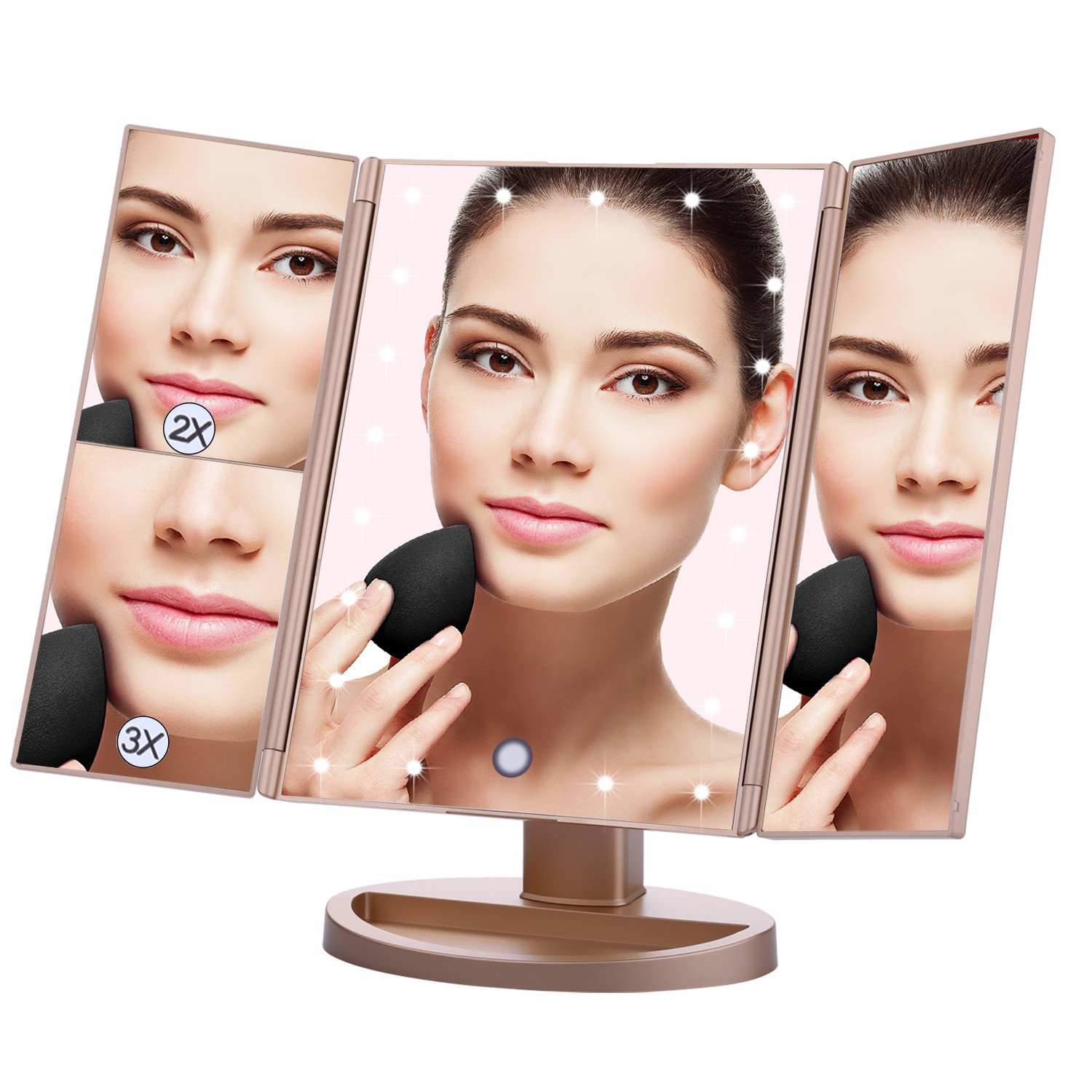 Lighted Makeup Mirror EMOCCI Tri-Fold Vanity Mirrors With 3X 2X 1 Magnification,USB Charging 180 Degree Free Rotation Mirror For Women Girls Cosmetic Make Up Bathroom Countertop Use (Gold)