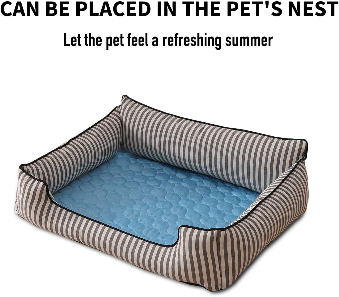PETCUTE Cooling Pad for Dogs Dog Cooling Mat Pet Cooling Mat Pad Cool Dog Bed Mattress Crate Mat Blue Small