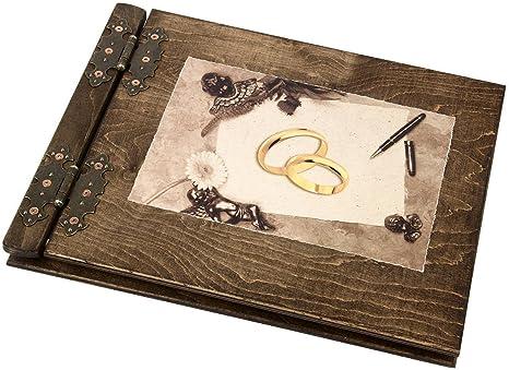 Libro de firmas para boda, diseño de madera con anillas (200