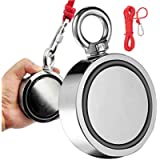 BOOMCOOL Magnet Fishing Double Sided Fishing Magnet,3.7' Diameter 1700 LBS Strong Magnet Rare Earth Magnet with Rope