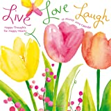"""Graphique Live Love Laugh Wall Calendar, 16-Month 2019 Wall Calendar with Colorful Floral Illustrations by Betsey Cavalla, 3 Languages & Major Holidays, 2019 Calendar, 12"""" x 12"""""""