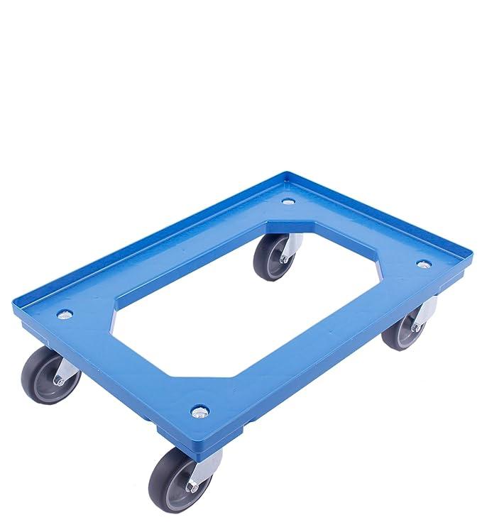 PLATAFORMA CON RUEDAS 60x40, carro para cajas Euro, carro con 4 ruedas giratorias, adecuado para cajas plegables de 60x40 cm y 40x30 cm, azul: Amazon.es: ...