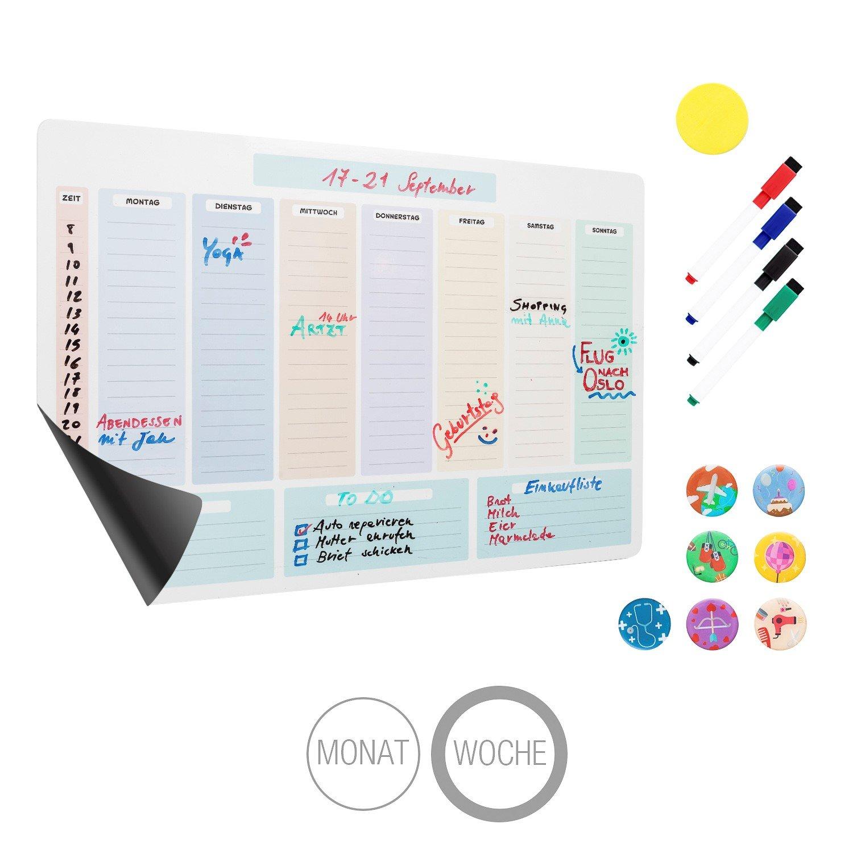 Amazy magnetischer Monatskalender inkl. 4 Marker, 7 Magnete und Radierer – Abwischbarer Kühlschrank Kalender für einen organisierten Monat inklusive Event-Magnete, Marker und Radierer