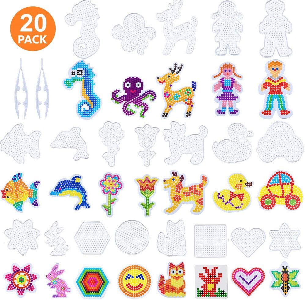 Minelife 20 Pack 5 mm Fuse Beads Boards Clear Plastic Pegboards, Fuse Beads Kit Plastic Animal Shape Template with 20 Pieces Colorful Cards and 2 Pieces Fuse Bead Tweezers for Kids Craft Making