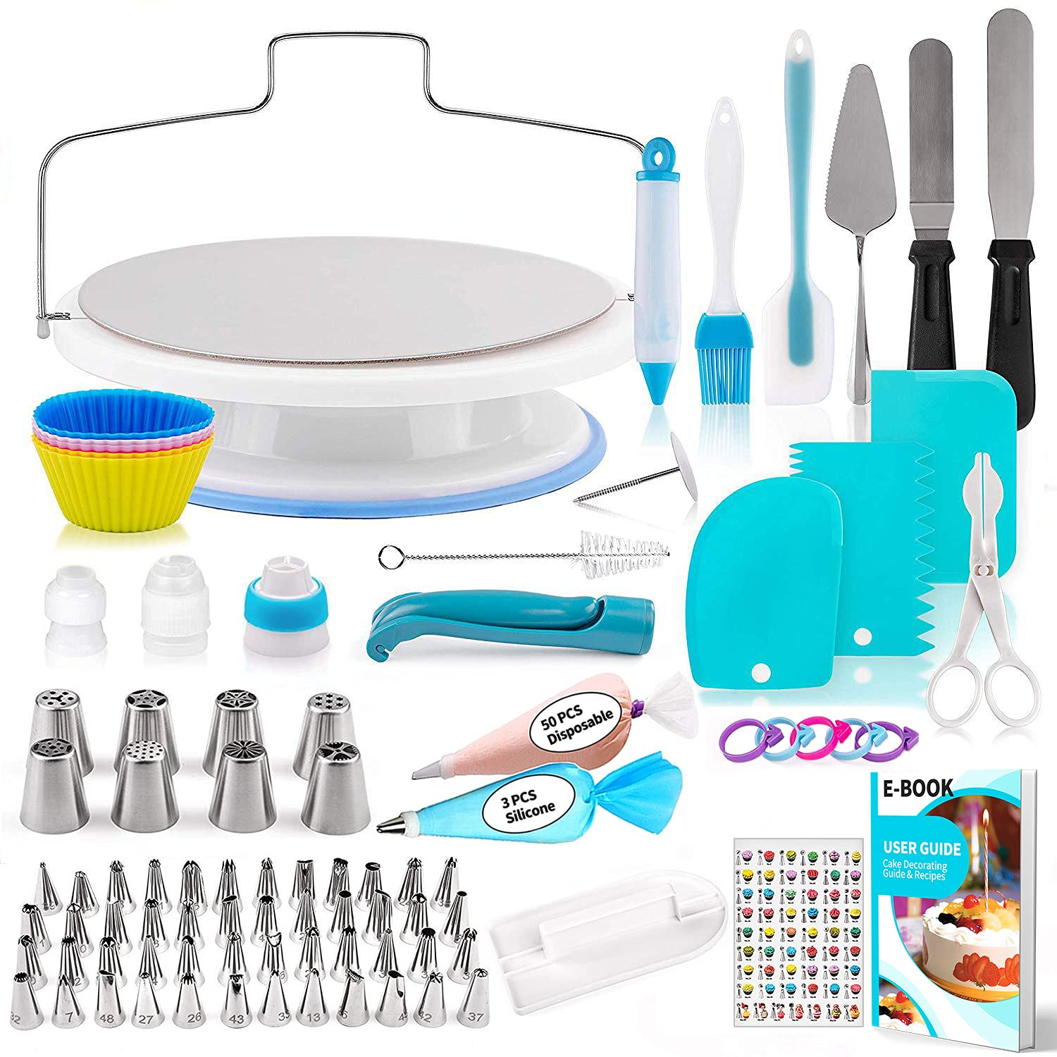 140 Pcs Cake Decorating Supplies Kit for Beginners with Cake Turntable Stand