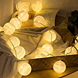 2 Pack Cotton Balls Fairy Lights Battery Operated 10 LEDs Wool Balls String Light 2.15M/6.56ft Warm White D (D:4.5cm/1.77inch