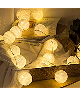 Anordsem 2 Pack Cotton Balls Fairy Lights Battery Operated 10 LEDs Wool Balls String Light 2.15M/6.56ft Warm White D (D:4.5cm/1.77inch) for Bedroom,Party,Indoor,Wedding,Festival Decor