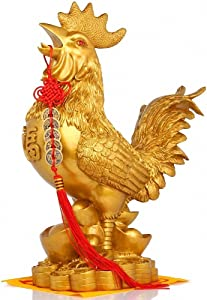 Chinese Zodiac Rooster Year Golden Rooster Resin Collectible Figurines + Free Set of 5 Lucky Charm Ancient Coins on Red String, Chinese Charm of Prosperity Home Decoration Gift,Feng Shui Decor