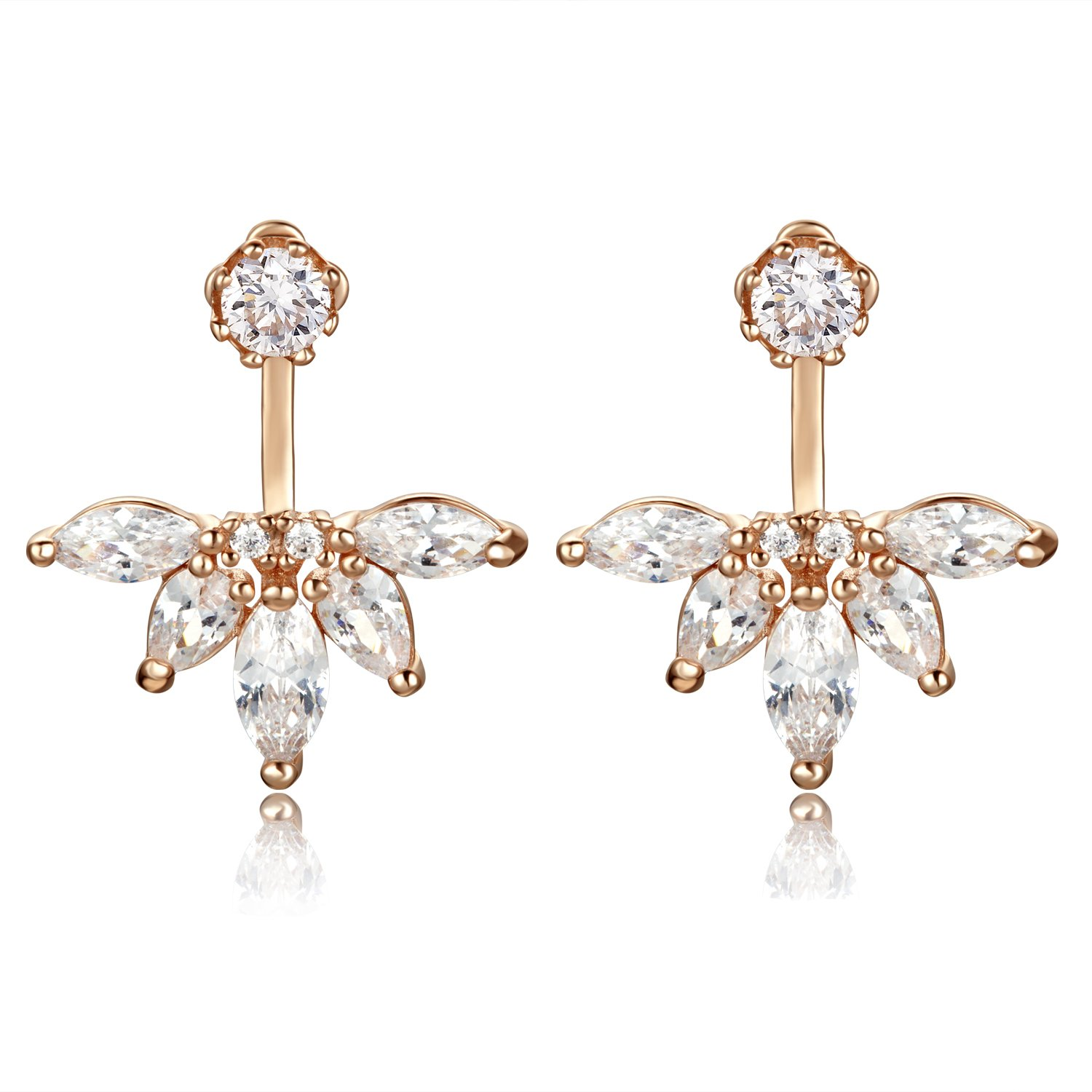 Sterling Silver Earrings with Crystal,DOKINCIK, Rose Gold Stud Earring sets for Women and Girls