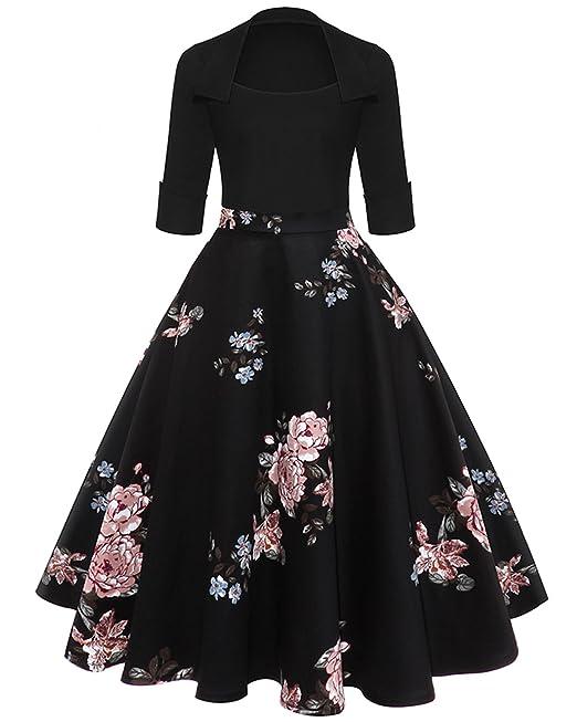 ZAFUL Mujer Vintage Vestido Anos 50 Falda Plisada Grandes Impresion Floral Mangas Medias Vestidos de Fiesta