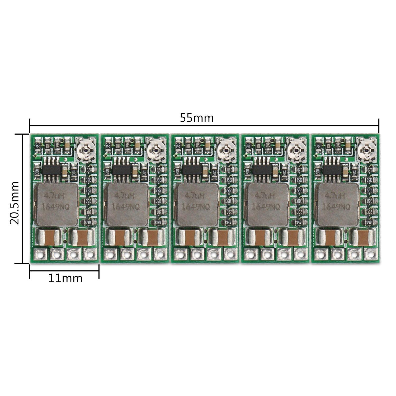 DROK 5pcs Mini Voltage Reducer DC 4.5-24V 12V 24V Step Down to 5V Buck Converter Board 3A Volt Step-Down Transformer Power Supply Module 5v Regulator