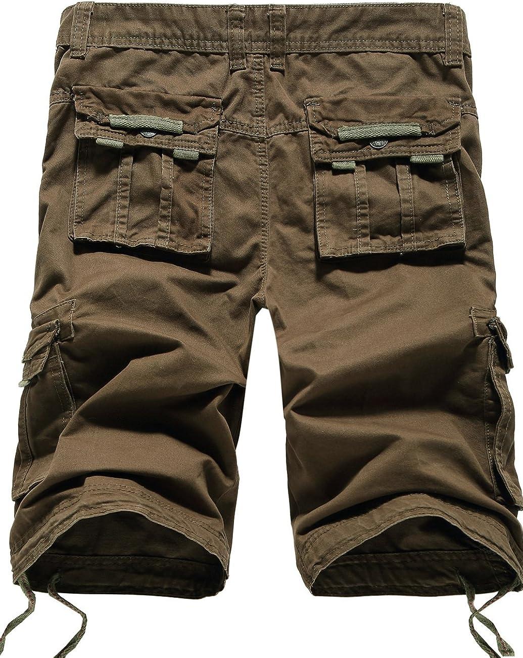SSLR Mens Casual Cotton Multi-Pocket Cargo Shorts