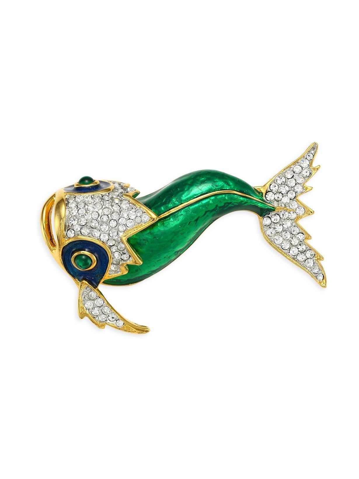 HamptonGems Kenneth Jay Lane, Green Enamel KOI PIN, with Pave Crystals Accents