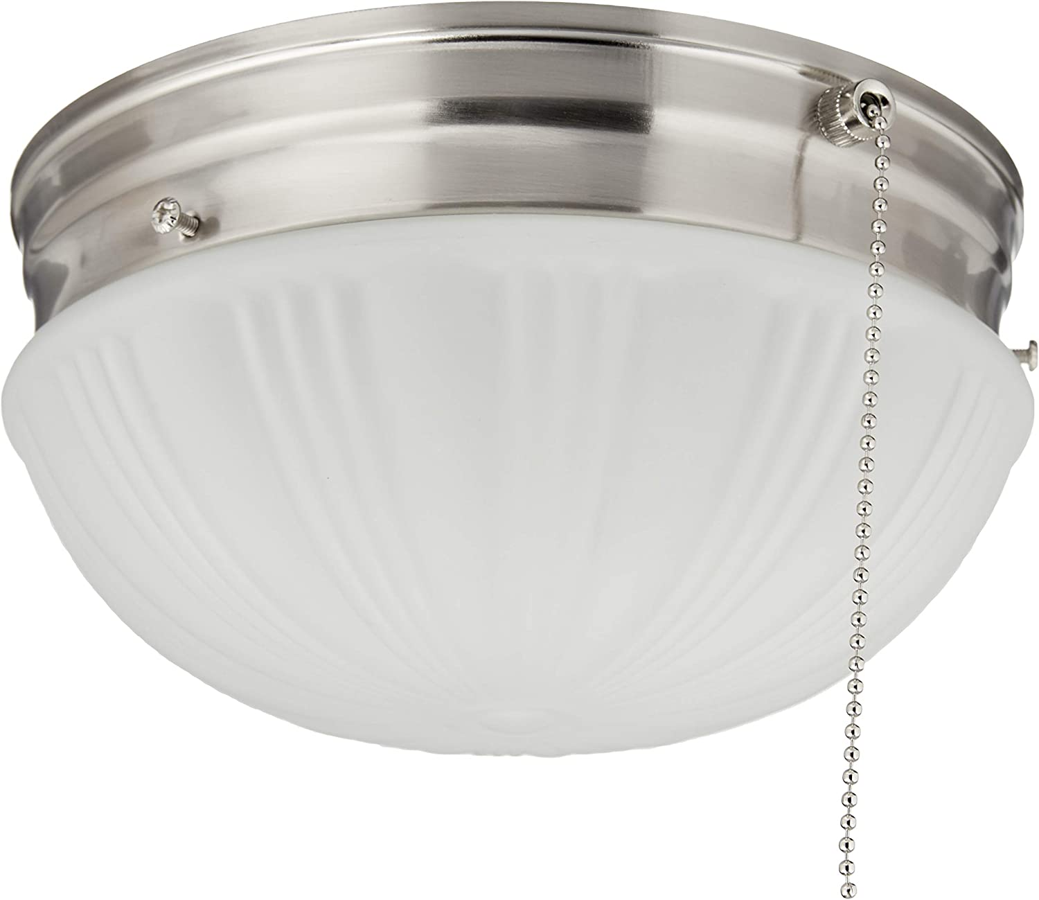 Amazon Com Westinghouse Lighting 6721000 Two Light Flush Mount Interior Ceiling Fixture With Pull Chain Brushed Nickel Finish With Frosted Fluted Glass Home Improvement