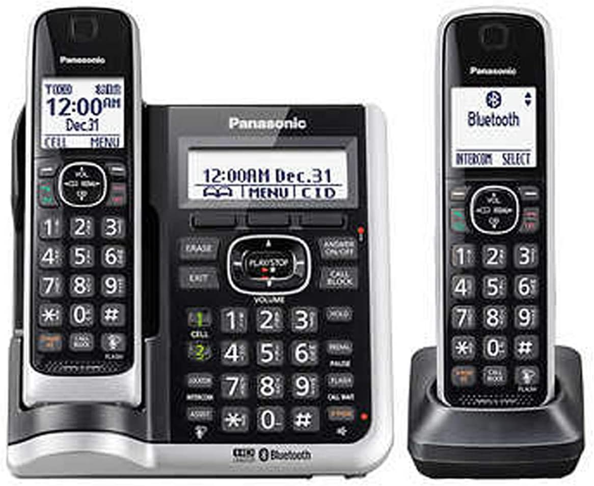 Panasonic KX-TG882SK ( 2 Handset ) Cordless Phone - Answering System with Bluetooth link2Cell DECT 6.0 - Base KX-TG885SK , H/S KX-TGFA61B (Renewed)