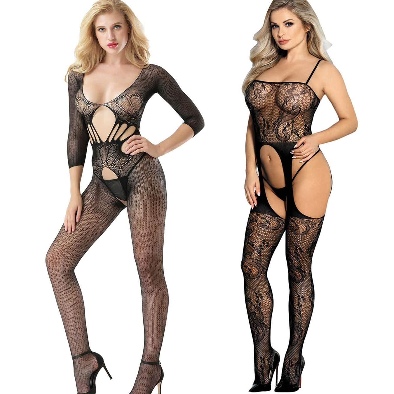 LOVELYBOBO 2-Pack Donna Vestito da Notte, Cavallo Aperto Maglia Pesce Netto Calza Corpo Body Lingerie Camicia da Notte Nero