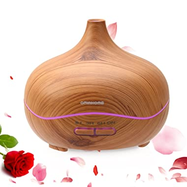 OminiHOME Essential Oil Diffuser 300ml Cool Mist Humidifier Ultrasonic Aroma Diffuser, Waterless Auto Off, Wood Grain, Brightness Adujstable, Birthday Gift (Wood Grain)