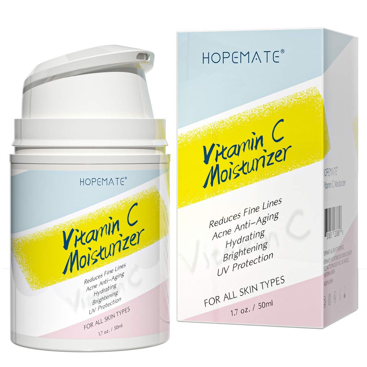 HOPEMATE H Vitamin C Moisturizer-Anti aging, Reduce Wrinkles & Dark Spot, Daily for Dry, Sensitive, Oily Skin Restore - Boost Collagen Cream, 1.7OZ