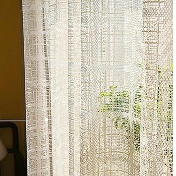 Gasa de algodón y lino Simple Estilo Moderno Pantallas de color puro Salón Dormitorio Flotante Cortinas