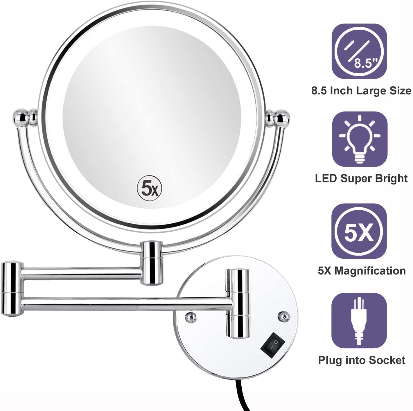 ALHAKIN 8.5 Inch LED Lighted Wall Mounted Makeup Mirror with 5X Magnification, Double Sided Swivel Vanity Mirror for Bathroom, Chrome Finish