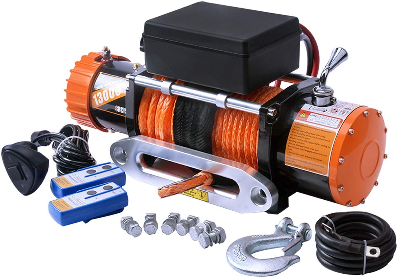Load Capacity IP67 X-BULL 12V Waterproof Synthetic Rope Winch-13000 lb