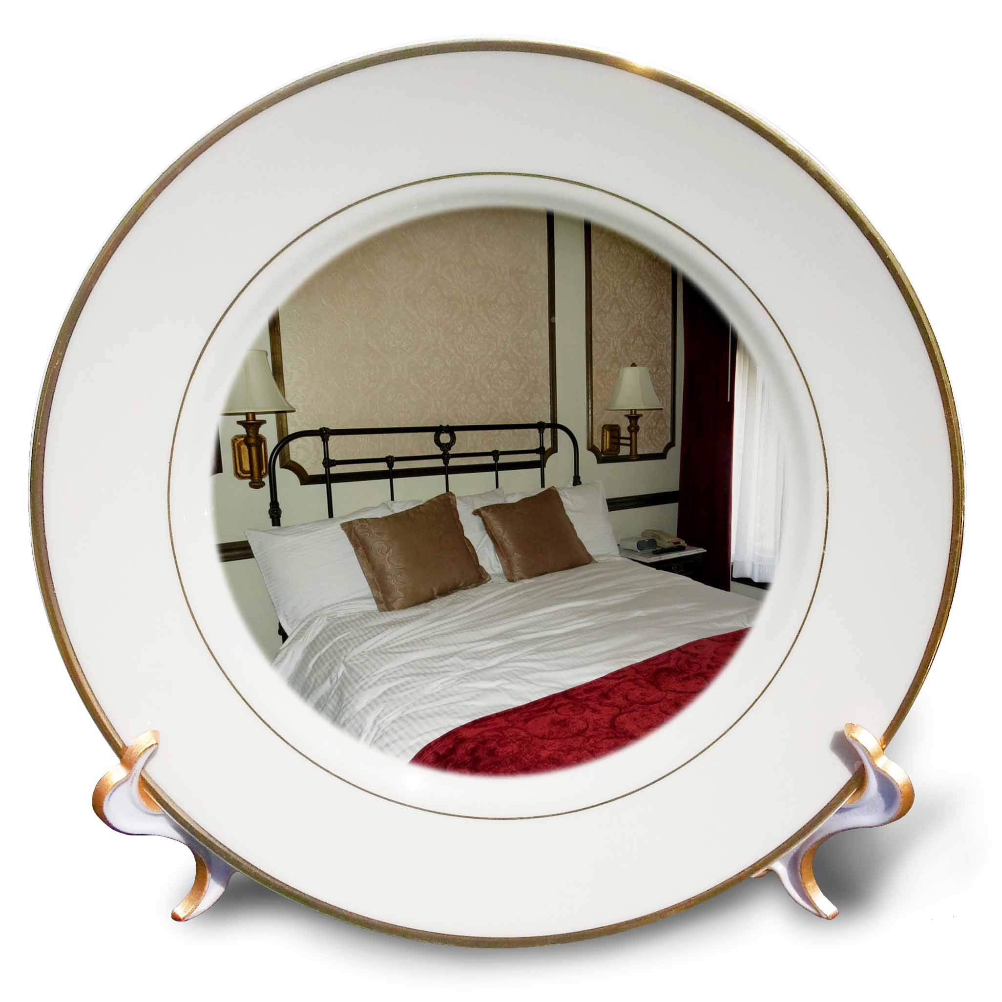 3dRose Jos Fauxtographee- Mitzpah Hotel Room - A Nice Hotel Room with a red Coverlet in The Mizpah Hotel in NV - 8 inch Porcelain Plate (cp_291359_1)