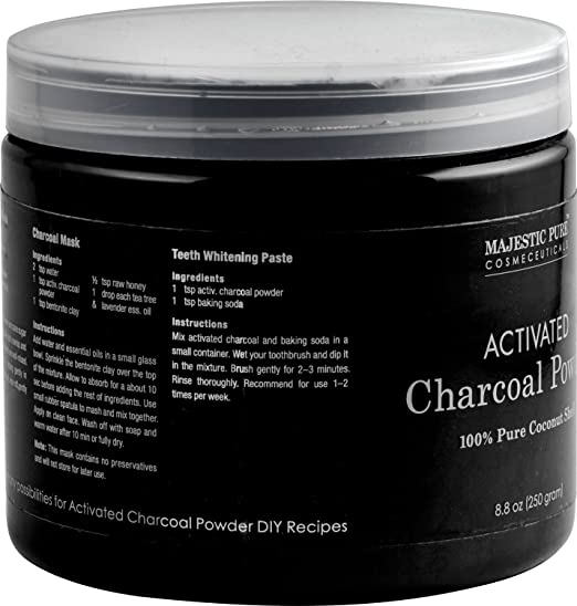Majestic Pure Activated Charcoal Powder for DIY Recipes - Facial Masks,  Facial Scrubs, Knee
